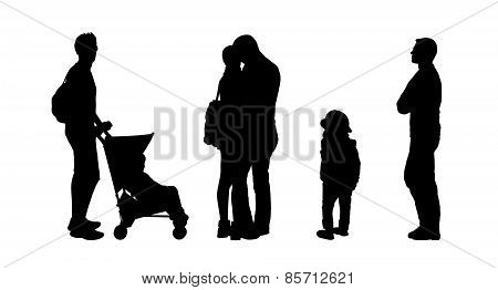 People Standing Outdoor Silhouettes Set 27