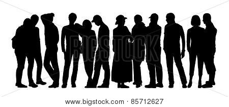 Large Group Of People Silhouettes Set 8