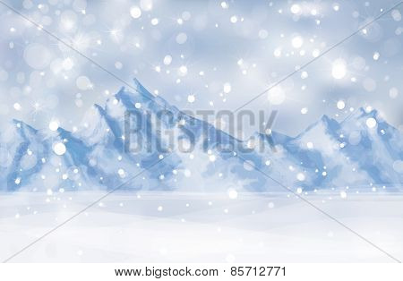 Vector winter  mountain landscape.