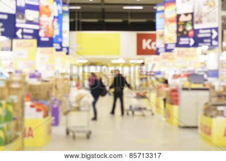 Interior Of Empty Supermarket. Various Products In A Supermarket