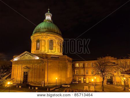 Hospital De La Grave In Toulouse By Night