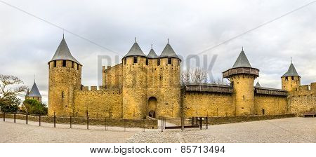 Entrance To The Cite De Carcassonne, A Medieval Citadel In France