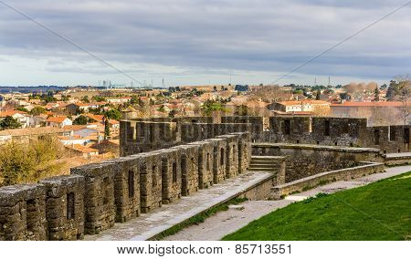 View Of Carcassonne From The Fortress - Languedoc, France