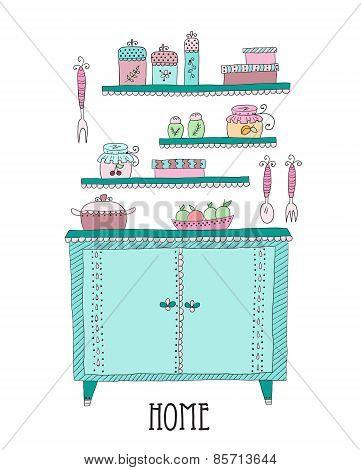 Kitchen set. Design elements of kitchen.