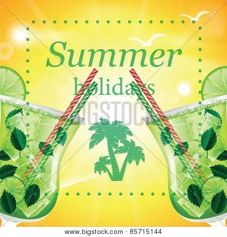 Summer Holidays Vector Illustration With Cocktails