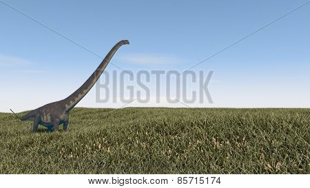 mamenchisaurus walking on grass terrain
