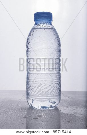 Chilled drinking water bottle without label
