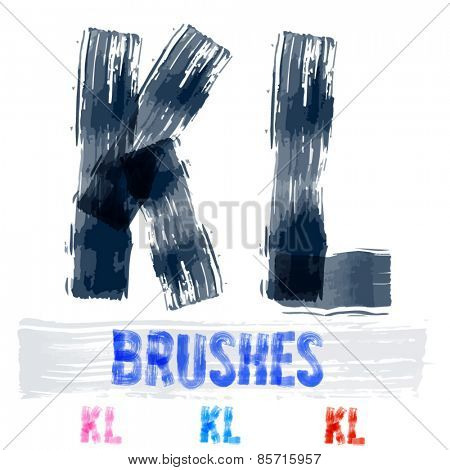 Vector set of extremely grunge underground style font. Hand-drawn brush alphabet. Letters K L