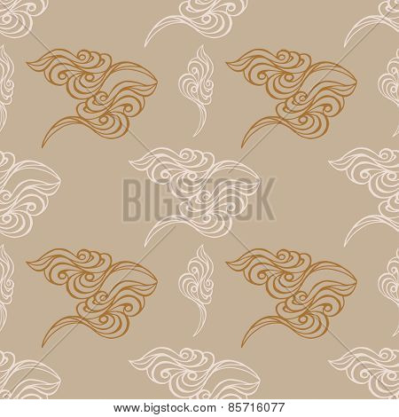 Hand Drawn Wave Tracery Grey Background, Seamless Pattern. Vector Illustration.