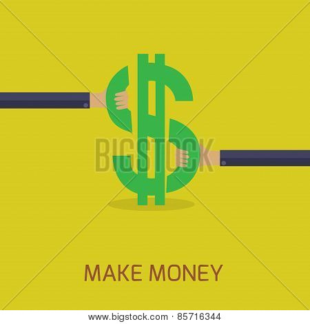 flat design make money concept
