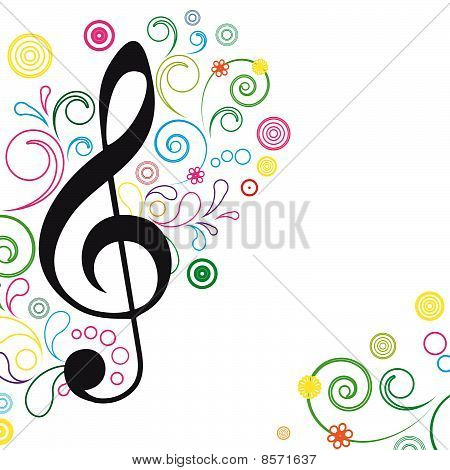 Vector Music Floral Background.