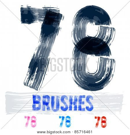 Vector set of extremely grunge underground style font. Hand-drawn brush alphabet. Numbers 7 8