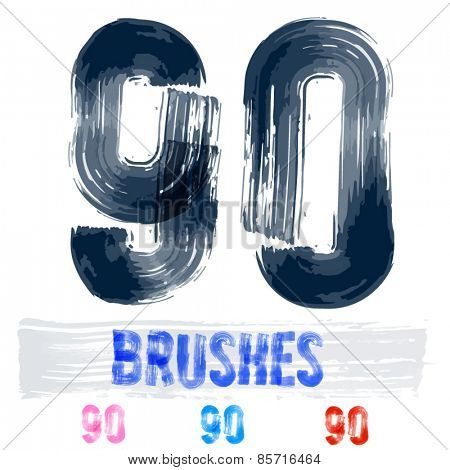 Vector set of extremely grunge underground style font. Hand-drawn brush alphabet. Numbers 9 0