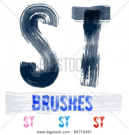 Vector set of extremely grunge underground style font. Hand-drawn brush alphabet. Letters S T