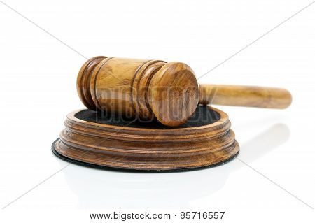 Wooden Gavel Closeup On A White Background
