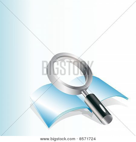 Realistic vector magnifying glass and notebook.