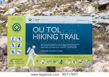 Ou Tol Hiking Trail Sign In The Historic Swartberg Pass