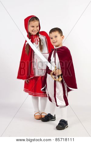 Two Children In Costumes, Prince, Little Red Riding Hood