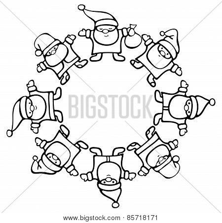 Vector silhouette Santa Clauses circle.