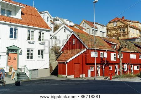 Traditional Red Wooden Buildings, Norway
