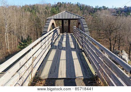 Wooden Bridge Over The Street, Norway