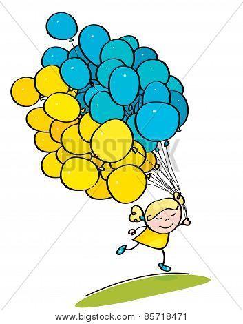 Vector Little Girl Holding Many Balloons Ukrainian Flag Colors Symbol.