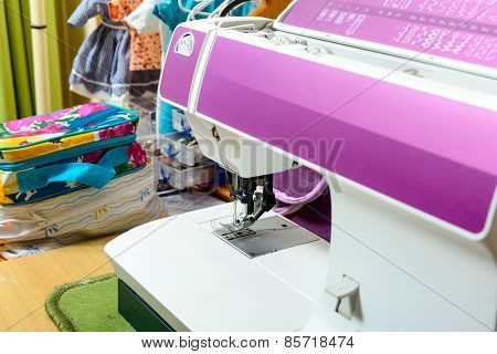 Sewing Machine In The Workshop Of A Seamstress