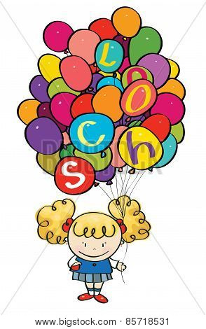 Vector Little Girl Holding Many Colorfull Balloons With School Letters.