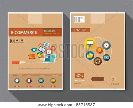 Set Of E-commerce Magazine Cover , Flyer, Brochure Flat Design Templates