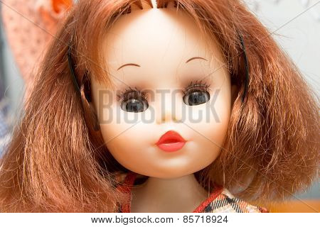 Close Up Of The Face Of A Doll