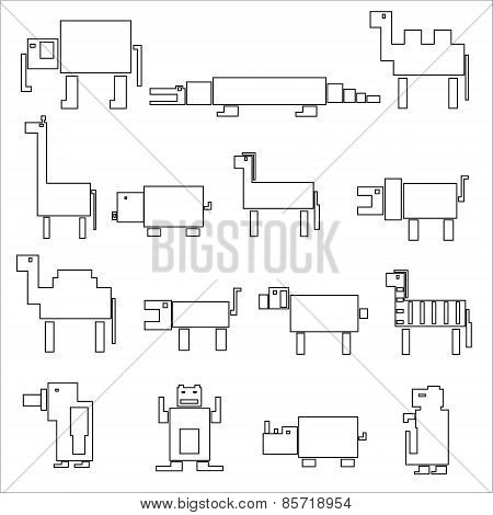 Black Square Outline Digital Simple Retro Animals Eps10