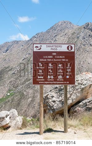 Sign Near The Top Of The Swartberg Pass