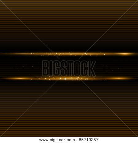 Abstract dark background with gold color light