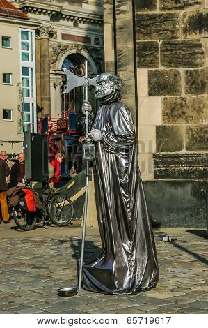 Street Actor Near Frauenkirche Temple In Dresden