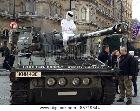 The Stig protesting at BBC
