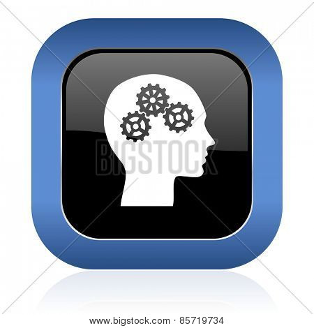 head square glossy icon human head sign