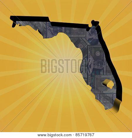 Florida map on dollars sunburst illustration
