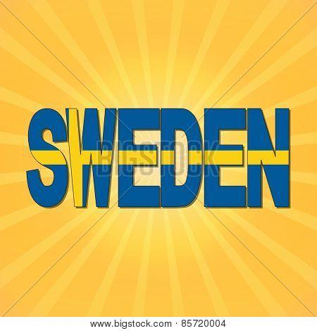 Sweden flag text with sunburst illustration