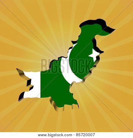 Pakistan sunburst map with flag illustration