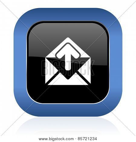 email square glossy icon post message sign