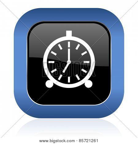 alarm square glossy icon alarm clock sign