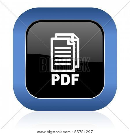 pdf square glossy icon pdf file sign