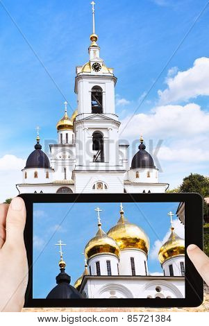 Tourist Photographs Cathedral Of Dmitrov Kremlin