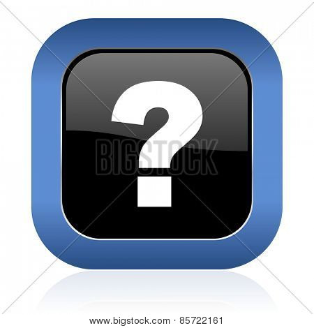 question mark square glossy icon ask sign