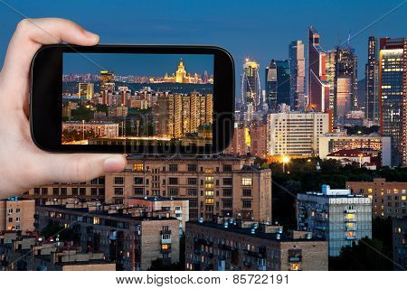 Tourist Photographs Panorama Of Moscow In Night