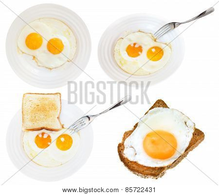 Set Of Fried Eggs On White Plate Isolated
