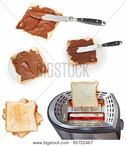 Sweet Sandwich - Toasts With Chocolate Spread