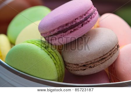 Home-made macarons in the box