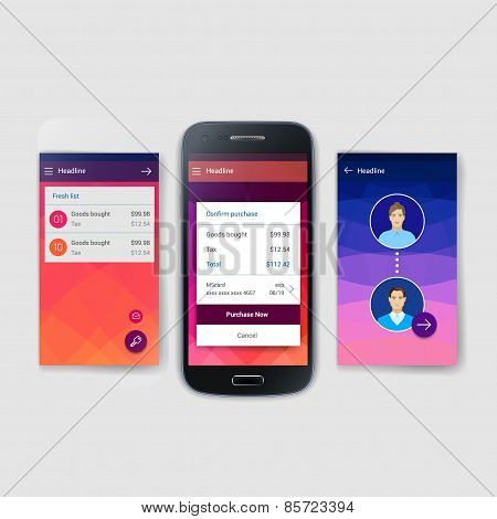 Set of modern user interface (ux, ui) screen template for mobile smart phone or web site. Transparen