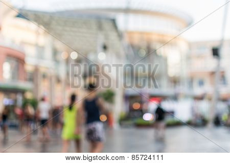 Blurred People Walking In The Shopping Mall
